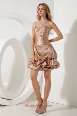 Brown A-line / Princess Sweetheart Cocktail Dress Ruch Mini-length Taffeta  Dama Dresses