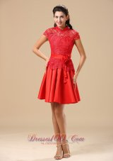 2013 High-neck Red Mother Of The Bride Dress With Sash Lace and Taffeta In Juneau