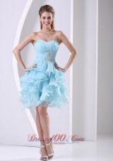 2013 Stylish Aque Blue Ruffles Sweetheart Ruched Bodice and Beading Prom Cocktail Dress In 2013