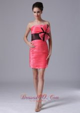 2013 Cute tiered skirt Mini-length Coral Red Taffeta Strapless Cocktail Prom Dress