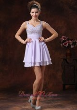 2013 Lilac Straps Beaded Decorate Prom Cocktail Dress With Mini-length