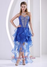 2013 Sweetheart Beaded Royal Blue 2013 Stylish Homecoming / Cocktail Dress With Ruffles Asymmetrical