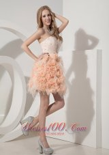 2013 Pink Column Sweetheart Mini-length Organza and Lace Beading and Hand Made Flowers Prom Dress