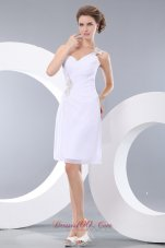 Cheap Affordable White Column Short Prom / Homecoming Dress One Shoulder Mini-length Chiffon Appliques