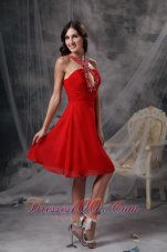 Modern Red Empire V-neck Cocktail Dress Chiffon Beading Knee-length  Under 100