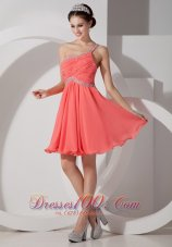 Lovely Orange Red Empire One Shoulder Homecoming Dress Chiffon Beading and Ruch Mini-length  Under 100