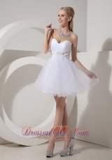 Cheap White Cocktail Dress A-line Sweetheart Organza Beading Mini-length  Under 100