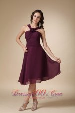 Dark Purple A-line V-neck Knee-length Chiffon Hand Made Flower Bridesmaid Dress  Under 100