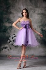 Custom Made Lilac A-line Sweetheart Mini-length Organza Beading Prom / Homecoming Dress  Under 100