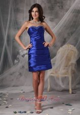 Custom Made Royal Blue Cocktail Dress Column / Sheath Sweetheart Taffeta Beading Mini-length  Under 100