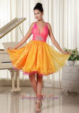 Colorful Princess Prom Dress Custom Made Straps Beaded Decorate Waist Organza  Under 100