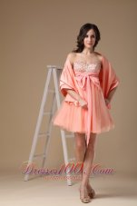 Watermelon Red A-line Sweetheart Mini-length Organza and Taffeta Beading Prom Dress  Under 100