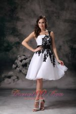 Modest White A-line One Shoulder Homecoming Dress Organza Lace Mini-length  Under 100