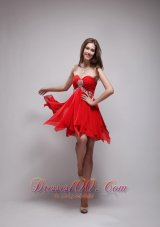 Red Empire Sweetheart Neck Mini-length Chiffon Beading Prom / Homecoming Dress  Under 100