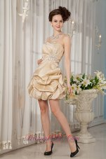 Luxurious Champagne A-line / Princess Strapless Cocktail Dress Taffeta Beading Mini-length Under 100