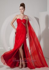 Fashion Custom Made Red Empire One Shoulder Prom / Evening Dress Chiffon Beading Watteau Train