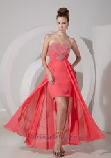 Fashion Watermelon Red High-low Prom Dress / Evening Gown with Beading