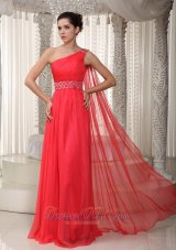 Fashion Coral Red Empire One Shoulder Watteau Train Chiffon Beading Prom Dress