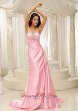 Fashion Rose Pink Halter Top Ruched Bodice For 2013 Prom Dress Brush Train In Kansas