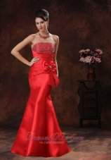 Fashion Red Satin Mermaid Prom Dress With Beaded Decorate Bust In Green Valley Arizona