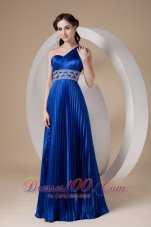 Fashion Royal Blue Empire One Shoulder Prom Dress Elastic Woven Satin Beading