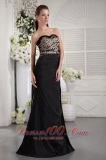 Fashion Black Column Strapless Floor-length Taffeta Ruch Prom / Graduation Dress