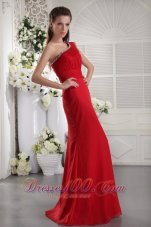 Fashion Red Column One Shoulder Floor-length Chiffon Beading and Ruch Prom / Evening Dress