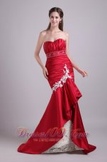 Fashion Red Mermaid Sweetheart Brush Train Taffeta Lace and Beading Prom / Evening Dress
