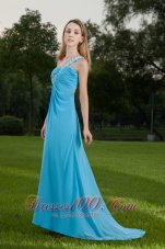 Fashion Baby Blue Empire One Shoulder Brush Train Chiffon Appliques and Ruch Prom / Celebrity Dress