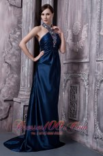 Fashion Navy Blue Prom Dress For Custom Made Column Halter Brush Train Elastic Woven Satin Beading
