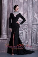 Fashion Sexy Black Column Mother Of The Bride Dress High-neck Chiffon Beading Brush Train