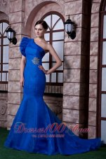 Fashion Classical Royal Blue Mermaid Evening Dress One Shoulder Beading Satin and Organza Beading