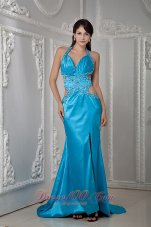 Fashion Low Price Teal Empire Halter Evening Dress Elastic Woven Satin Beading Brush Train