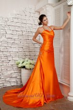 Fashion Customize Orange Red A-line Straps Prom / Evening Dress Elastic Woven Satin Beading Brush Train
