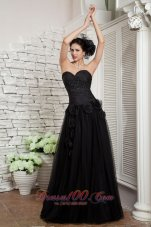 Fashion Modest Black Empire Little Black Dress Beading and Hand Made Flowers Sweetheart Tulle Floor-length