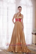 Celebrity Popular Gold Empire Halter Brush Train Elastic Woven Satin Rhinestones Prom Dress