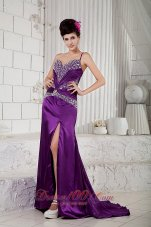 Celebrity Custom Made Eggplant Purple Empire Evening Dress One Shoulder Taffeta Beading Brush Train