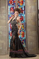 Celebrity Modest Black Column Evening Dress Halter Taffeta Beading Brush Train