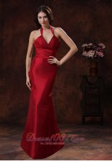 Celebrity Athens Alabama Red Mermaid Halter Bridesmaid Dress In Wedding Party Wear