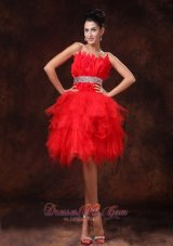 Red Feather Tulle Beaded Decorate Waist A-line Customize Cocktail Dress With Strapless For 2013  Cocktail Dress