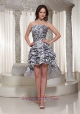 Zipper-up Back Leopard Strapless Cocktail High-low Prom Dress With  Cocktail Dress
