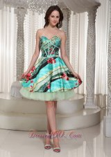 2013 Printing Sweetheart Prom Dress Wtih Mini-length Beading  Cocktail Dress