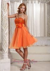 Organza Hand Made Flower Belt Beautiful Sequins Decorate Bust Homecoming Dress Orange  Cocktail Dress