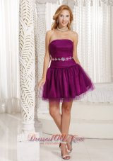 Custom Made Purple A-line Homecoming Dress And Gown WithTulle Beading in Summer  Cocktail Dress
