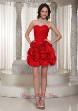 Cheap Flower Decorate Prom Dress For Cocktail With Sweetheart Mini-length  Cocktail Dress