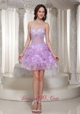 Sexy Beaded Decorate Homecoming Dress With Sweetheart Mini-length Organza  Cocktail Dress