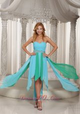 Asymmetrical Sweetheart Beaded Decorate Waist Prom Dress With Aqua Blue Chiffon 2013 Cocktail Dress