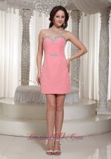 Watermelon Column Sequin Homecoming Dress For Formal With Beaded Decorate  Cocktail Dress