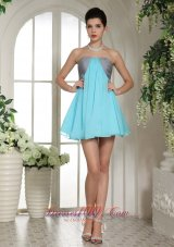 Aqua Blue and Grey Mini-length Club A-line Strapless Cocktail / Homecoming Dress  Cocktail Dress