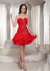 Beading Decorate Sweetheart Cute Red Short Prom / Cocktail Dress  Cocktail Dress